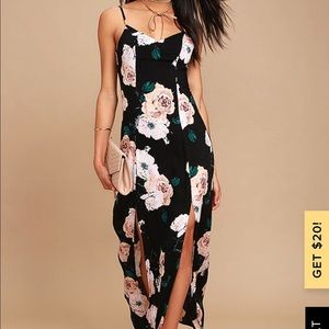 Lulu's PEONY FOR YOUR THOUGHTS BLACK FLORAL PRINT